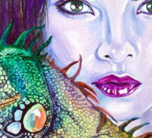 Beautiful Woman with Iguana Sticker