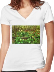 Green, Yellow and Red - Tulip Forest Impressions  Women's Fitted V-Neck T-Shirt