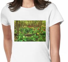 Green, Yellow and Red - Tulip Forest Impressions  Womens Fitted T-Shirt