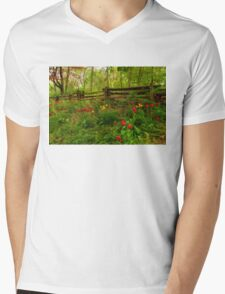 Dreamy Forest With Tulips - Impressions Of Spring Mens V-Neck T-Shirt