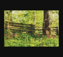 Impressions of Gardens - Colorful Tulips and a Rustic Fence One Piece - Long Sleeve