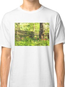 Impressions of Gardens - Colorful Tulips and a Rustic Fence Classic T-Shirt