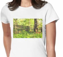 Impressions of Gardens - Colorful Tulips and a Rustic Fence Womens Fitted T-Shirt