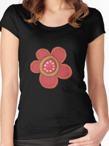 big red flowers Women's Fitted Scoop T-Shirt
