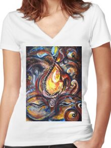 THIRD EYE - ABSTRACT Women's Fitted V-Neck T-Shirt