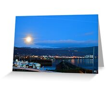 Moonset over Columbia River Greeting Card