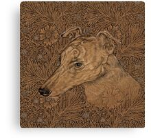 Yumi the greyhound on Morris marigolds Canvas Print