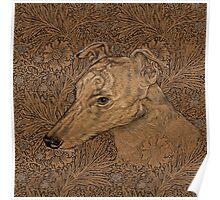 Yumi the greyhound on Morris marigolds Poster