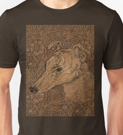 Yumi the greyhound on Morris marigolds Unisex T-Shirt