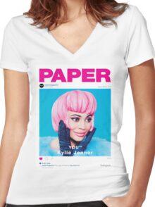 Kylie Jenner for Paper Magazine Women's Fitted V-Neck T-Shirt