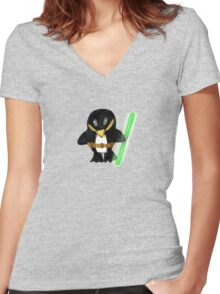 Jedi Penguin Women's Fitted V-Neck T-Shirt