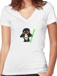 Jedi Penguin Women's Fitted V-Neck T-Shirt