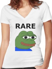 Ultra RARE pepe Women's Fitted V-Neck T-Shirt
