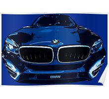 BMW illustration blue Poster