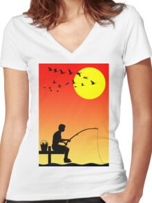 Childhood dreams, Fishing Women's Fitted V-Neck T-Shirt