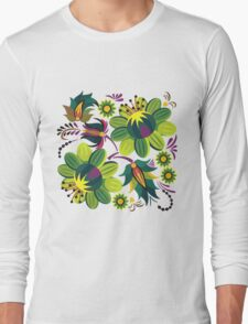 Green Summer Pattern Long Sleeve T-Shirt