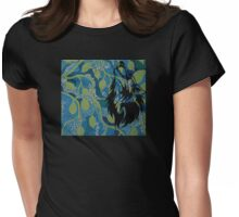 Fantasy - Wolf on mural Womens Fitted T-Shirt