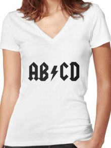 ACDC Alphabet Women's Fitted V-Neck T-Shirt