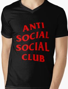 Red Anti Social Club Mens V-Neck T-Shirt