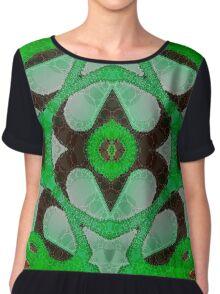 Florescent Green Abstract Kaleidoscope Pattern  Chiffon Top