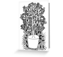 Black and white abstract tree in a pot illustration Greeting Card