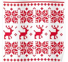 Christmas knitted edition with Reindeers Poster