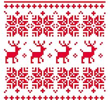 Christmas knitted edition with Reindeers Photographic Print