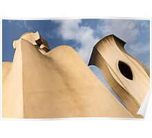Whimsical Chimneys - Antoni Gaudi's Smooth Shapes and Willowy Curves - Left Poster