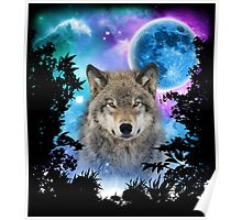 Timber Wolf MidNight Forest Poster