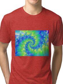 Psychedelic Colorful Spiral Fractal Tri-blend T-Shirt