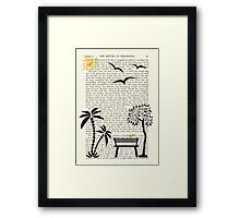Trees, bench with orange bird, smiling sun and flying birds Framed Print