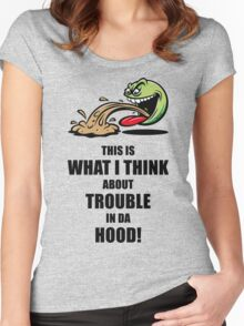 This Is What I Think About Trouble In Da Hood! (Emoticon Smiley Meme) Women's Fitted Scoop T-Shirt