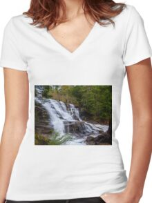 Moses Falls Women's Fitted V-Neck T-Shirt