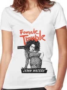 FEMALE TROUBLE - JOHN WATERS, DIVINE Women's Fitted V-Neck T-Shirt