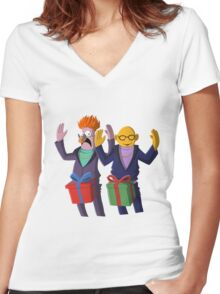 Beaker & Dr Bunsen - Dick in a box Women's Fitted V-Neck T-Shirt