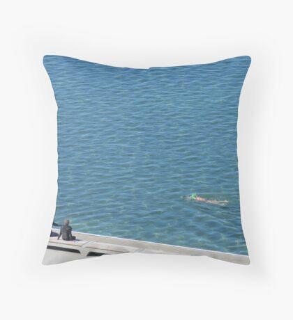 Winter In Newcastle -Merewether Ocean Baths Throw Pillow