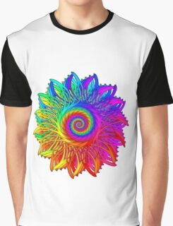Psychedelic Rainbow Spiral Medallion Graphic T-Shirt