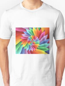 Psychedelic Pastel Rainbow Petal Spiral  T-Shirt