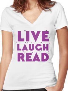 LIVE LAUGH READ in purple Women's Fitted V-Neck T-Shirt