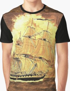 A digital painting of my acrylic painting of the frigate HMS Boreas, leaving Gibraltar Graphic T-Shirt