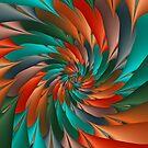 Green & Orange Spiral Fractal  by Kitty Bitty