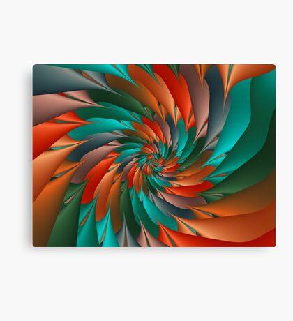 Green & Orange Spiral Fractal  Canvas Print