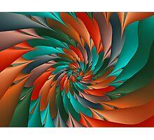 Green & Orange Spiral Fractal  Photographic Print