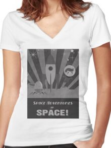 Space adventures, In Space!  Women's Fitted V-Neck T-Shirt