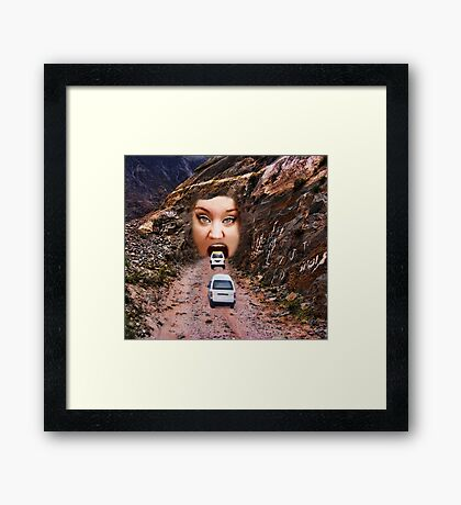 (✿◠‿◠) FACE IN MOUNTAIN OPEN MOUTH DRIVE THROUGH THROW PILLOW (✿◠‿◠) Framed Print