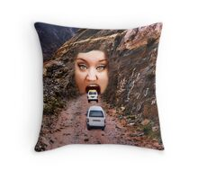 (✿◠‿◠) FACE IN MOUNTAIN OPEN MOUTH DRIVE THROUGH THROW PILLOW (✿◠‿◠) Throw Pillow