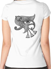 Eye of Horus (Tattoo Style Print) Women's Fitted Scoop T-Shirt