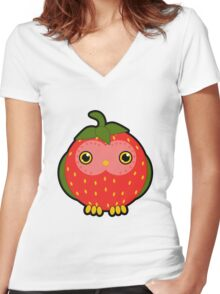 Strawberry owl Women's Fitted V-Neck T-Shirt