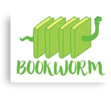 Bookworm in green (with worm) Canvas Print