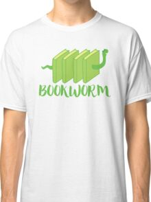 Bookworm in green (with worm) Classic T-Shirt